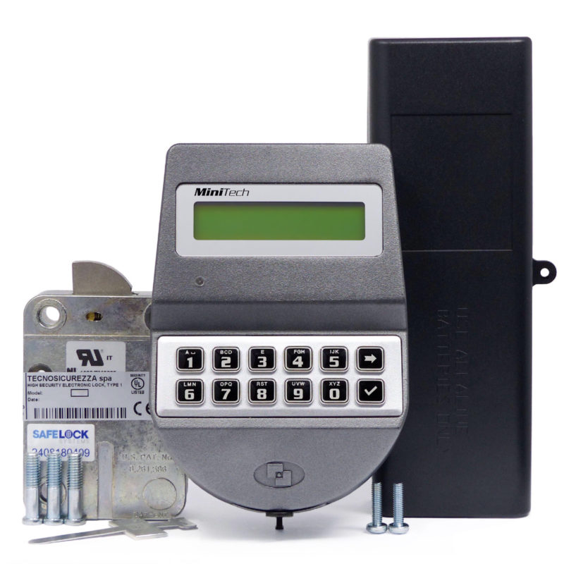 MiniTech keypad and swingbolt lock