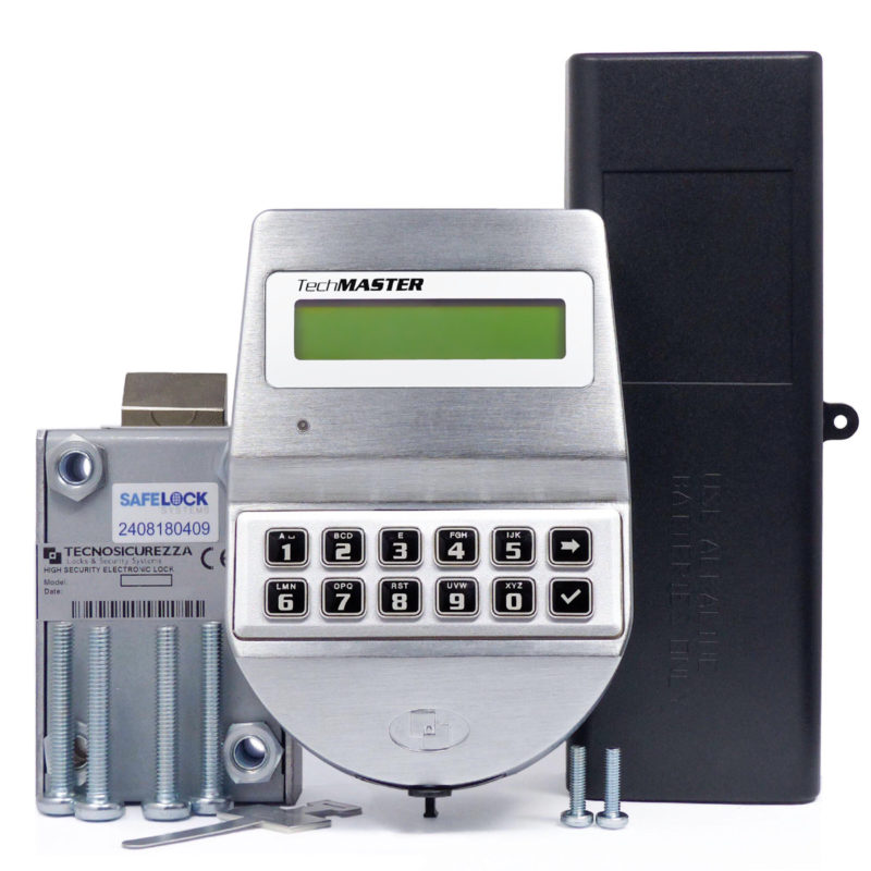 TechMaster keypad and motor-latchbolt lock